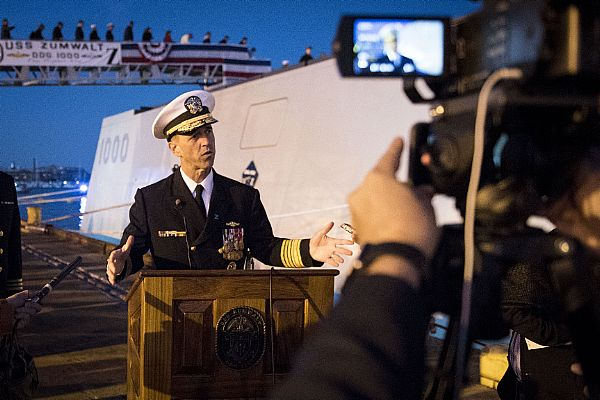 161015-N-AT895-508 BALTIMORE, (Oct. 15, 2016) Chief of Naval Operations (CNO) Adm. John Richardson conducts a media interview during the commissioning ceremony for the Navy's newest and most technologically advanced warship, USS Zumwalt (DDG 1000). (U.S. Navy photo by Petty Officer 1st Class Nathan Laird/Released)