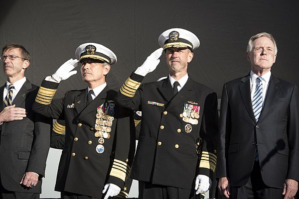 161016-N-AT895-014 BALTIMORE, (Oct. 16, 2016) (Left to right) Assistant Secretary of the Navy (Research, Development and Acquisition) Sean Stackley, Commander, U.S. Pacific Command(PACOM) Adm. Harry Harris, Chief of Naval Operations (CNO) Adm. John Richardson and Secretary of the Navy (SECNAV) Ray Mabus render honors for the national anthem during the commissioning ceremony for the Navy's newest and most technologically advanced warship, USS Zumwalt (DDG 1000). (U.S. Navy photo by Petty Officer 1st Class Nathan Laird/Released)