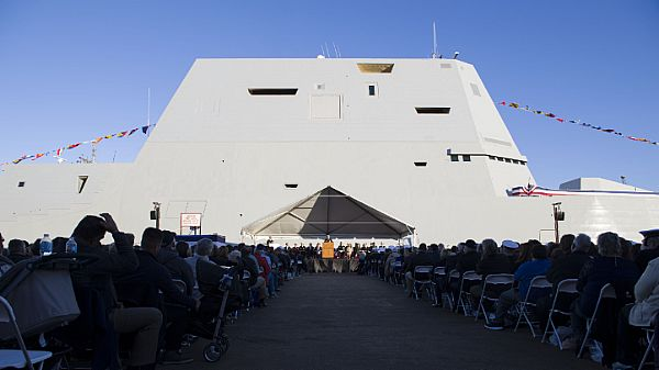 161015-N-HV059-069 BALTIMORE, Md. (Oct. 15, 2016) Adm. Harry B. Harris Jr., commander of U.S. Pacific Command, speaks at the commissioning ceremony of USS Zumwalt (DDG 1000). Crewed by 147 Sailors, Zumwalt is the lead ship of a class of next-generation destroyers designed to strengthen naval power by performing critical missions and enhancing U.S. deterrence, power projection and sea control objectives. (U.S. Navy photo by Petty Officer 2nd Class Sonja Wickard/Released)