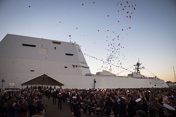 161015-N-AT895-424 BALTIMORE, (Oct. 15, 2016) Balloons fly and the crowd applauds as the Navy's newest and most technologically advanced warship, USS Zumwalt (DDG 1000), is brought to life during a commissioning ceremony at North Locust Point in Baltimore. (U.S. Navy photo by Petty Officer 1st Class Nathan Laird/Released)
