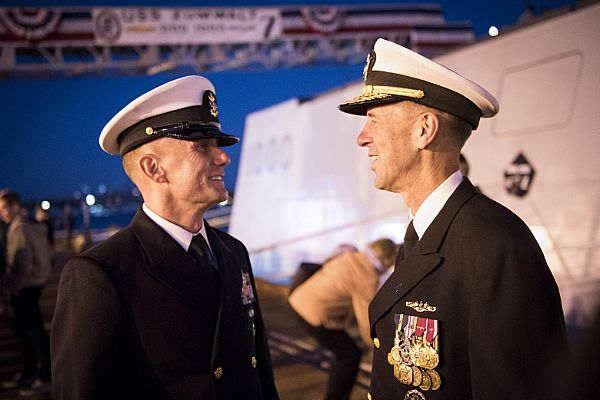 161015-N-AT895-527 BALTIMORE (Oct. 15, 2016) Chief of Naval Operations (CNO) Adm. John Richardson talks with Master Chief Petty Officer of the Navy (MCPON) Steven Giordano during the commissioning ceremony for the Navy's newest and most technologically advanced warship, USS Zumwalt (DDG 1000). (U.S. Navy photo by Petty Officer 1st Class Nathan Laird/Released)