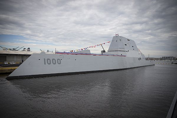 161013-N-ZI635-279 BALTIMORE (Oct. 13, 2016) The future Zumwalt-class guided-missile destroyer USS Zumwalt (DDG 1000) is pierside at Canton Port Services in preparation for its upcoming commissioning on Oct. 15, 2016. Zumwalt is named for former Chief of Naval Operations Elmo R. Zumwalt and is the first in a three-ship class of the Navy's newest, most technologically advanced multi-mission guided-missile destroyers. (U.S. Navy photo by Petty Officer 2nd Class George M. Bell/Released)