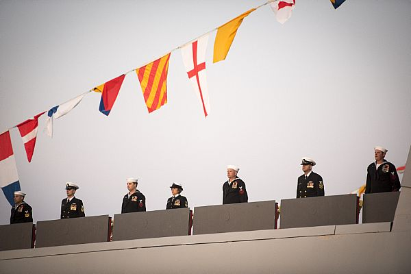 161016-N-AT895-225 BALTIMORE (Oct. 16, 2016) The crew of the Navy's newest and most technologically advanced warship, USS Zumwalt (DDG 1000), brings the ship to life during a commissioning ceremony at North Locust Point in Baltimore. (U.S. Navy photo by Petty Officer 1st Class Nathan Laird/Released)