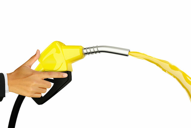 Hand holding Fuel nozzle with hose isolated on white background