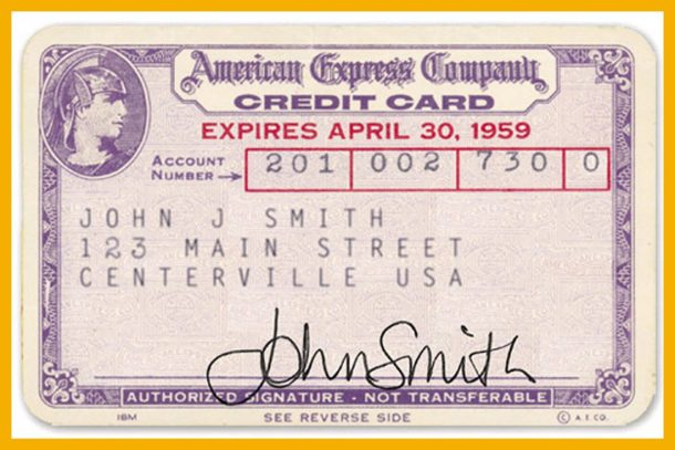 UNSPECIFIED - FEBRUARY 09: American Express credit card, 1959. Consumer credits cards, introduced in the 50's, became common in the 60's (Photo by Apic/Getty Images)