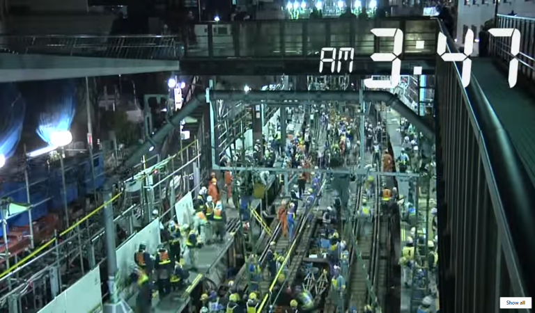 Watch As 1200 Japanese Workers Convert A Train Station Into A Subway Within 3.5 Hours