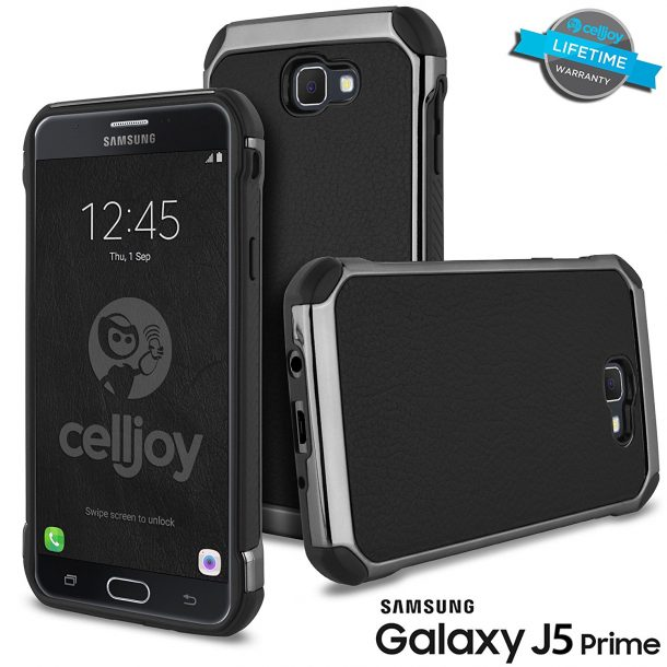 Galaxy J5 Prime Case, Celljoy [Deluxe Shock Armor] Samsung G570 Slim Fit Dual Layer Protective ((Shockproof)) Hybrid TPU Bumper [[Impact Resistant]] Premium Elegant - Thin Hard Cover (Black)