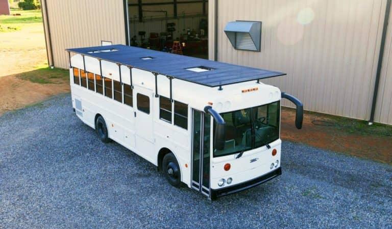 Couple Turn An Old School Bus Into A Modern Home On Wheels That Runs On Solar Energy