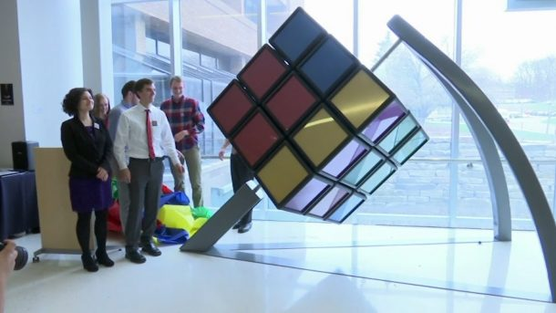 university of michigan unveils a 1 500 pound rubik 39 s cube. Black Bedroom Furniture Sets. Home Design Ideas