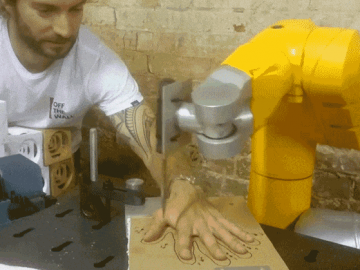 robotic hand with knife