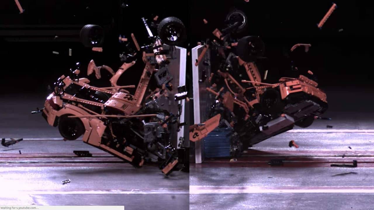 watch this magnificent lego porsche 911 crash into a. Black Bedroom Furniture Sets. Home Design Ideas