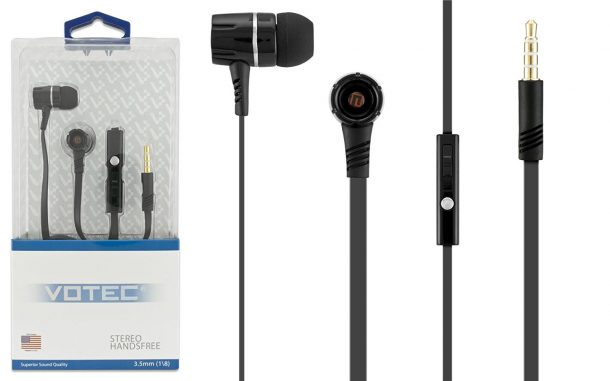 3.5mm Stereo Hands-free Tangleless Earbuds Headset w/ Mic Volume Control