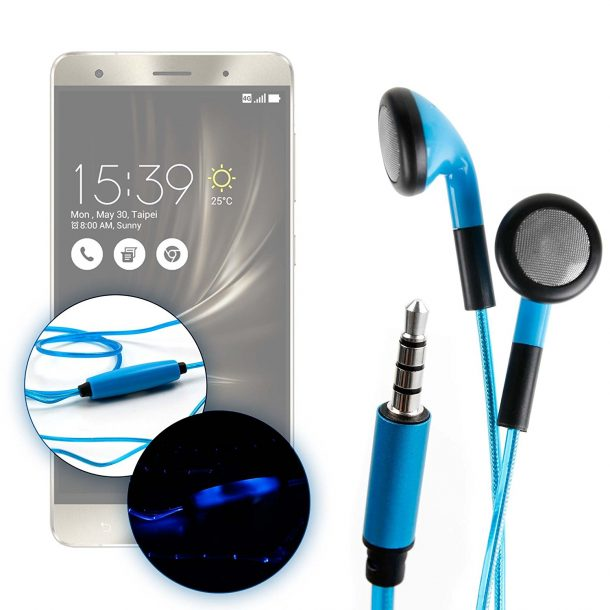 DURAGADGET Exclusive LED Flashing earphones for Asus Zenfone 3 ZE552KL