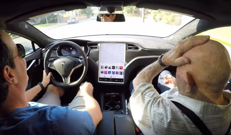 Man Takes His 97-Year-Old Grandfather For An Amusing Ride In His New Tesla Model S