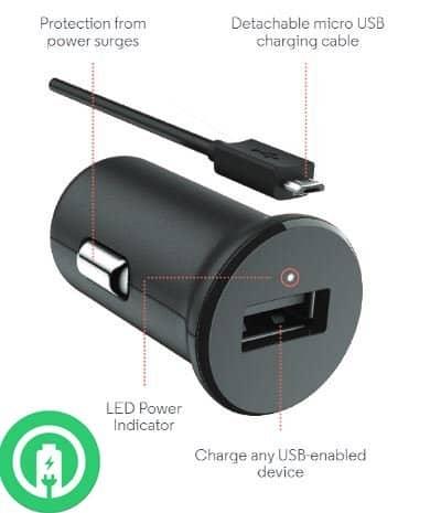 Q6 Car Charger Detachable Hi-Power MicroUSB Cable