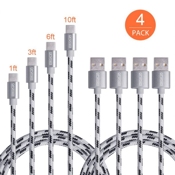 Ofspower 4Pack 1ft 3ft 6ft 10ft Braided USB Type C to A