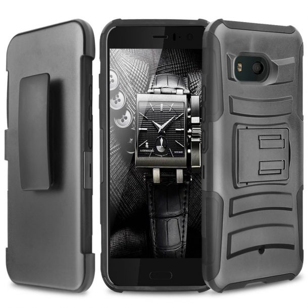 TJS Drop Protection Case with Belt Clip Holster For HTC U11 Life