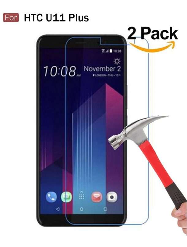 Wellci [ 2 Pack ] Tempered Glass Screen Protector for HTC U11 Plus