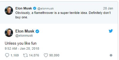 Elon Musk May Not Be Able To Sell His Flamethrowers In California