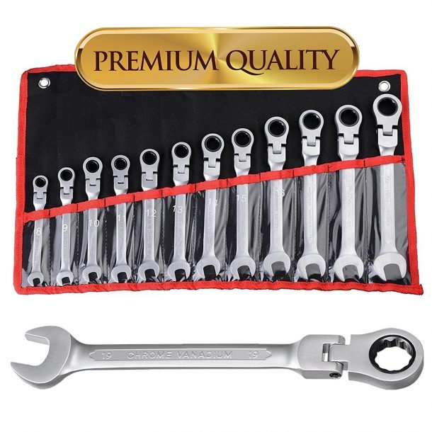 Koval Inc. 12 pc 8-19mm Flexible Reversible Ratcheting Wrench Spanner Set