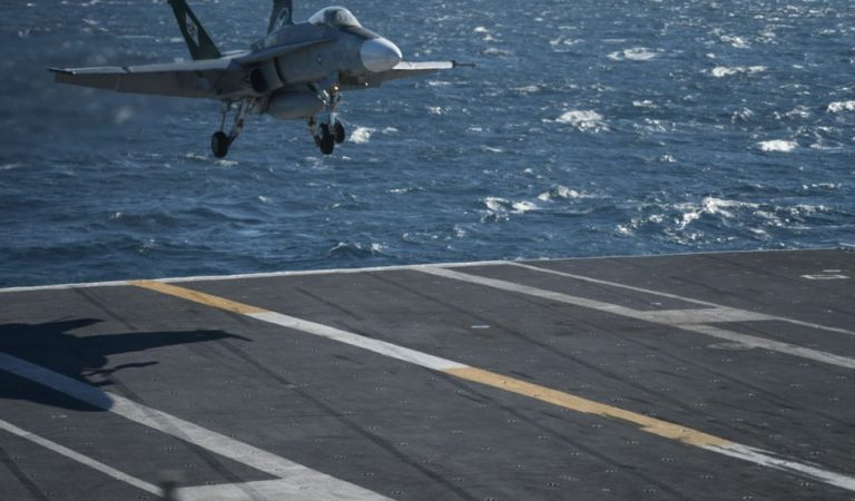 US Airforce Lands Fighter Jet Aircraft Carrier Via Remote Control