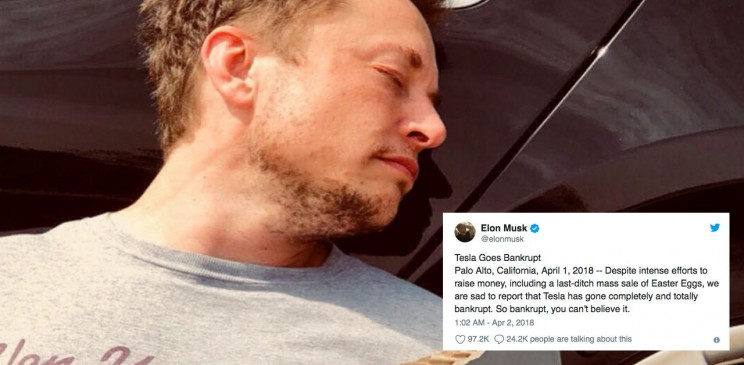 Elon Musk Announces Bankruptcy For Tesla As An April Fools' Prank