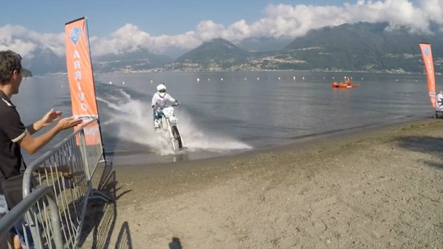 Watch This Guy Ride His Bike On The Surface Of A Lake
