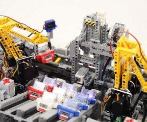lego car building factory