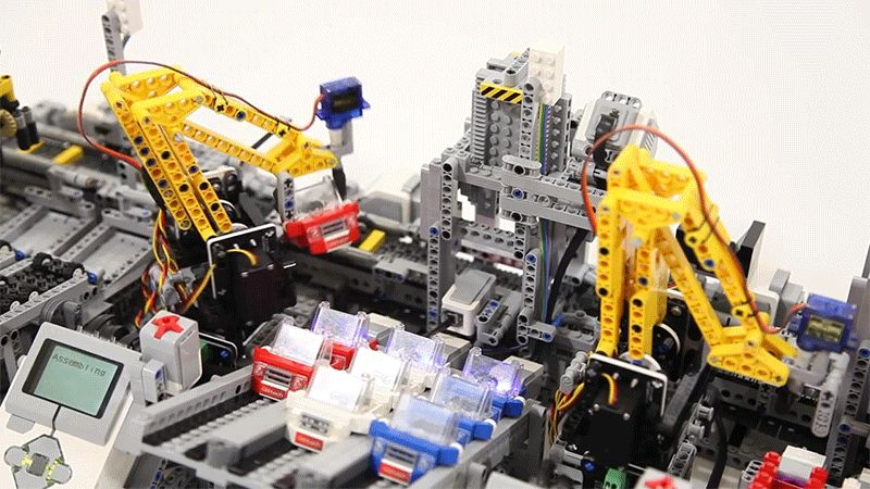 lego car building factory