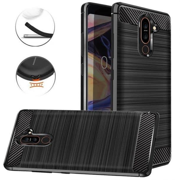 Dretal Carbon Fiber Shock Resistant Protective Cases for Nokia 7 Plus