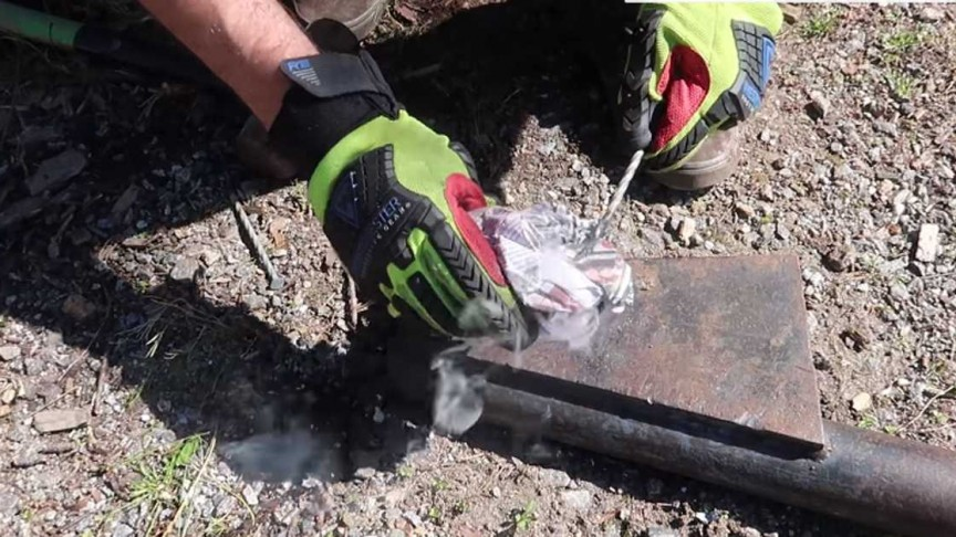 starting fire with hammer and nail