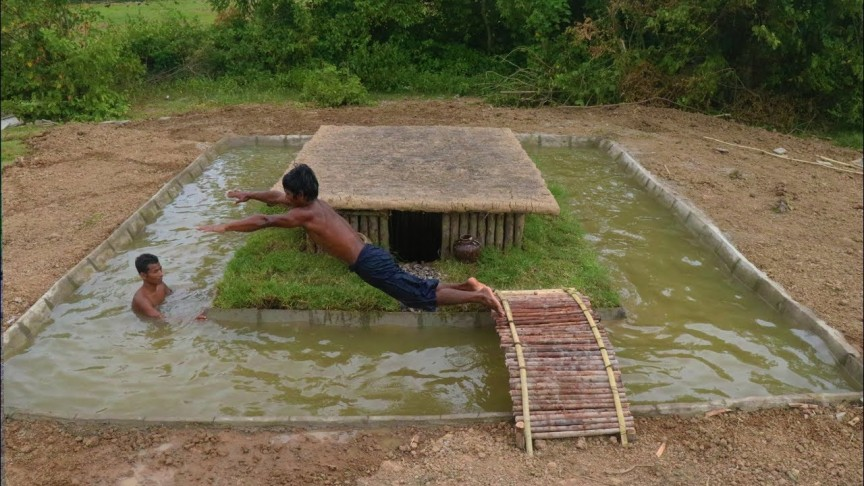 Watch these two guys build a primitive swimming pool - How to build a swimming pool slide ...