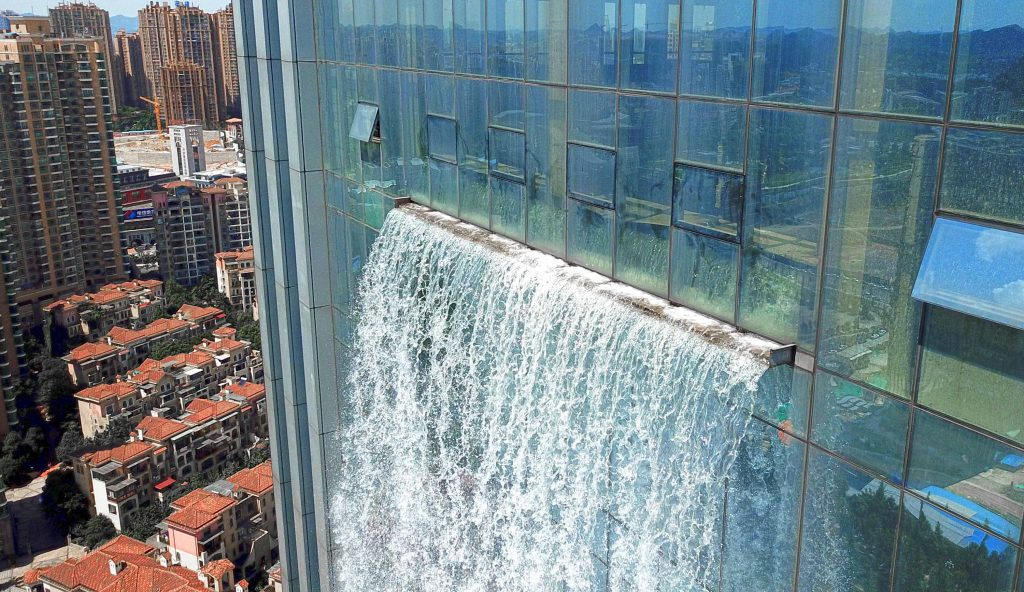 Artificial Waterfall Of A Building In China