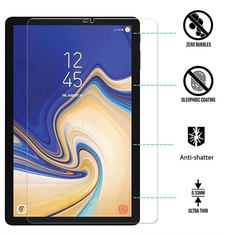 Premium Tempered Glass Screen Protector for Samsung Galaxy Tab S4 10.5 Tablet