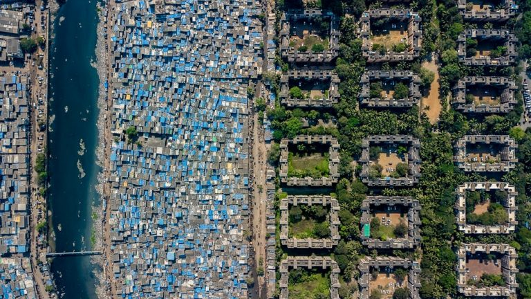 drone images showing difference between rich and poor