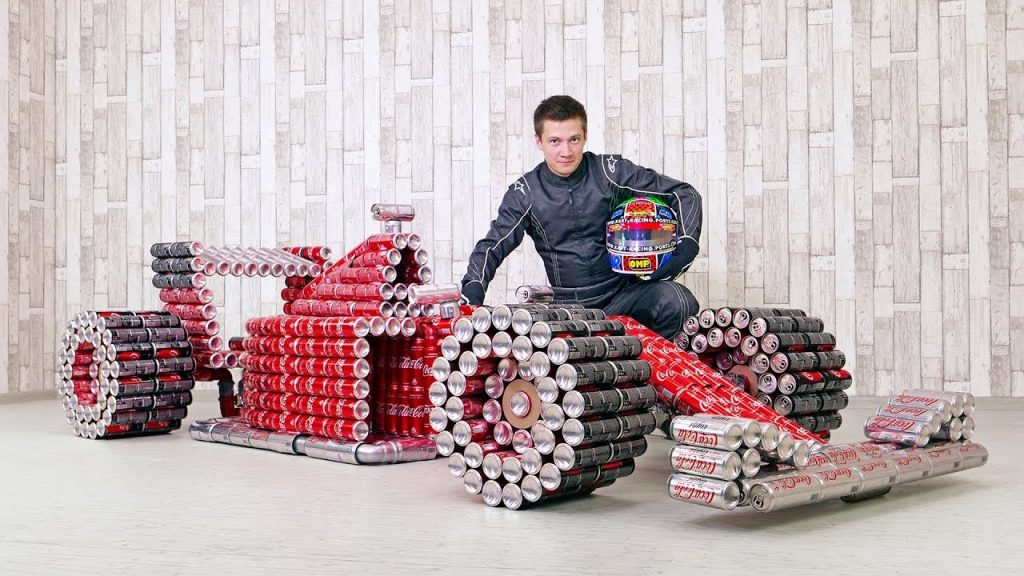 f1 car created with coca cola cans