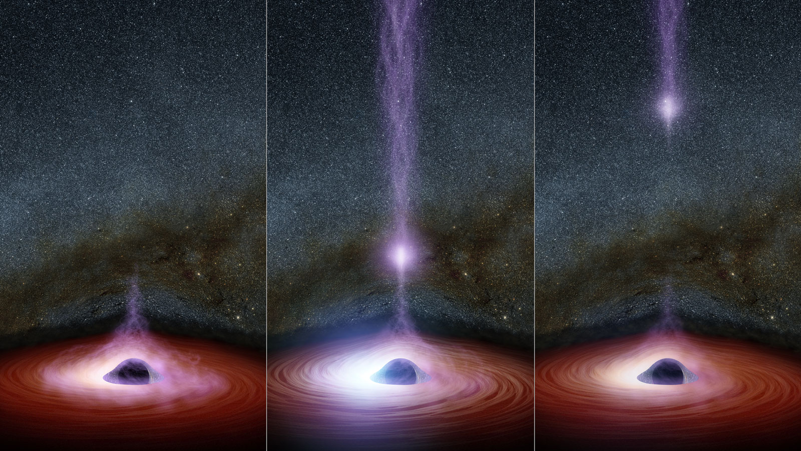 light coming out of black hole