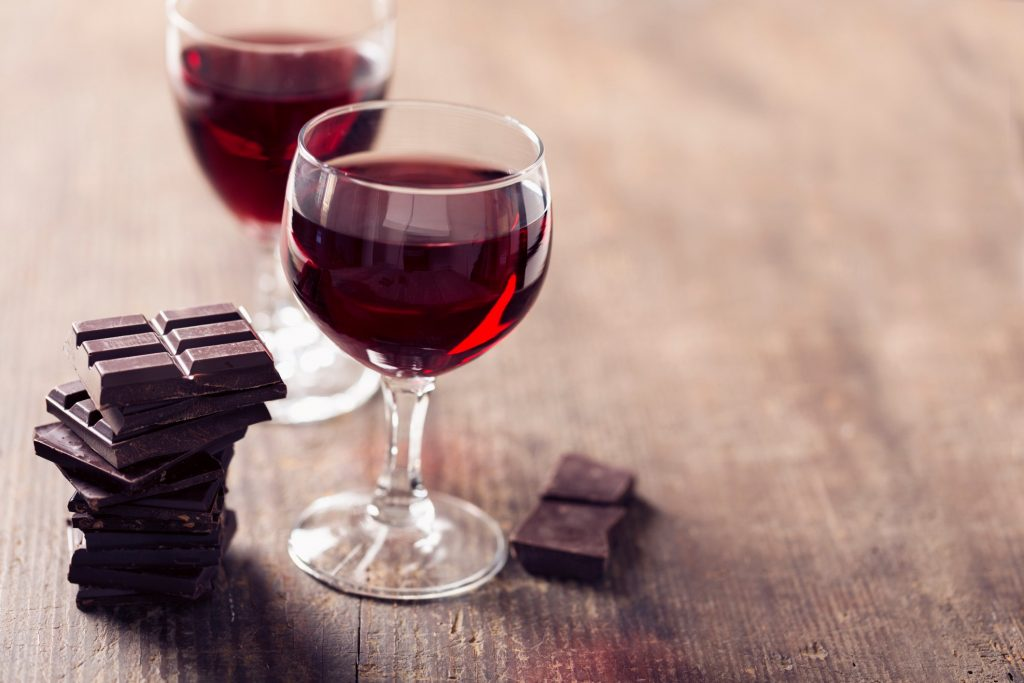 anti aging compound in dark chocolate and red wine