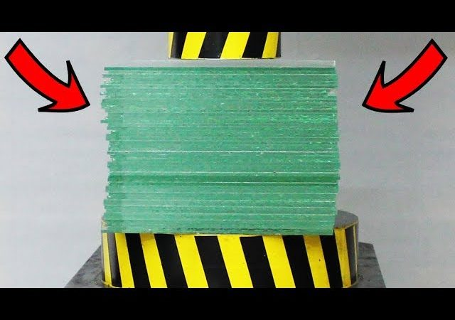 Watch What Happens When A 100 Ton Hydraulic Press Is Pitted Against 50 Sheets Of Glass