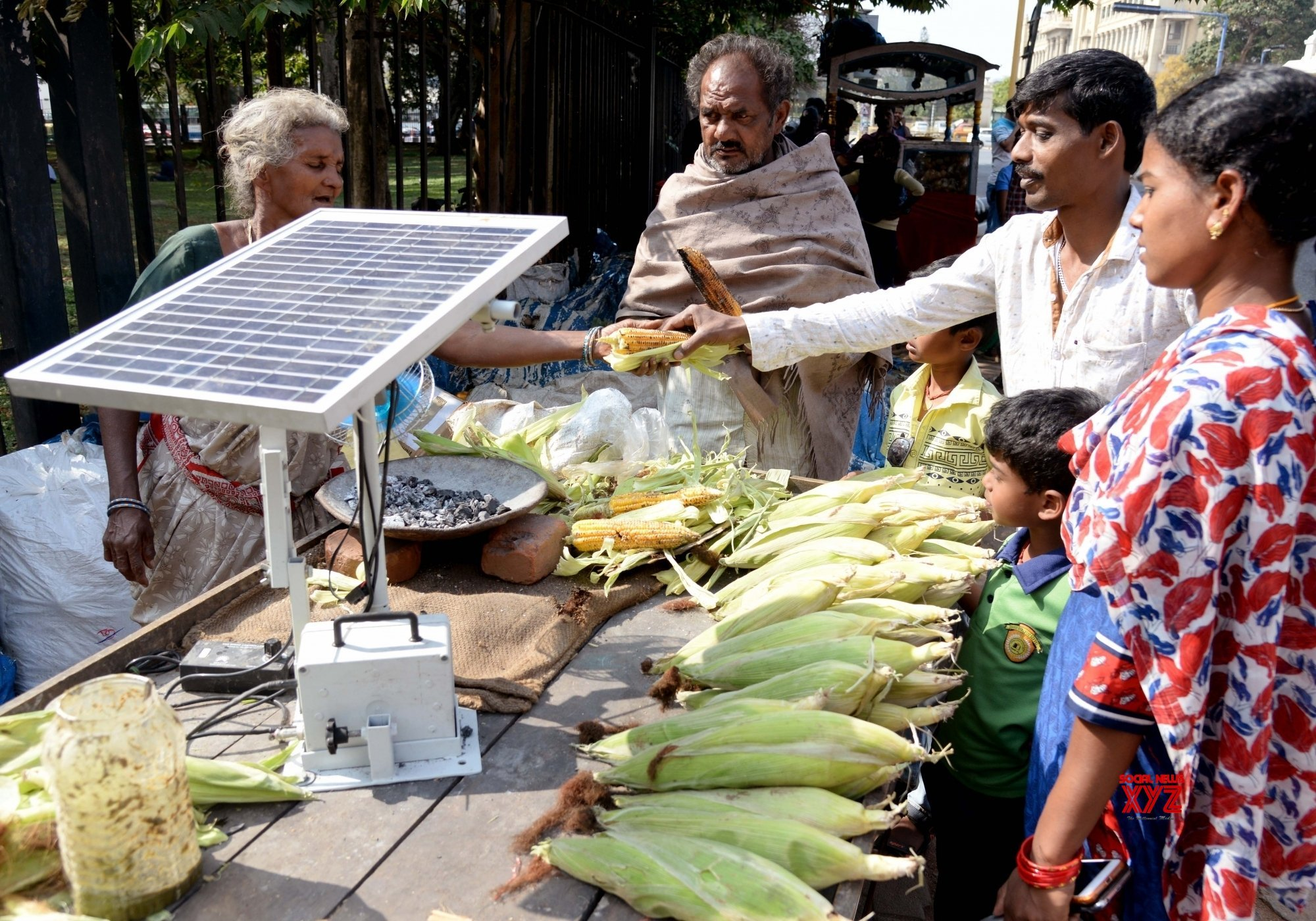 Selvamma Uses Solar Power For Roasting Corn Now!