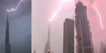 Check Out The Moment Lightning Struck Burj Khalifa!