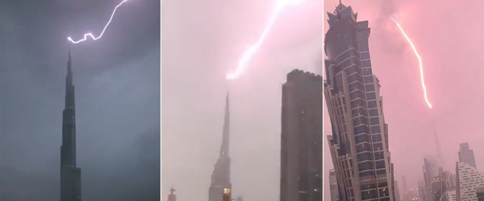 Check Out The Moment Lightning Struck Burj Khalifa!