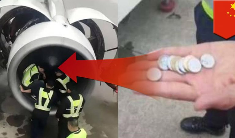 Chinese Keep Throwing Metal Coins Into Engines Of Airplanes For Good Luck