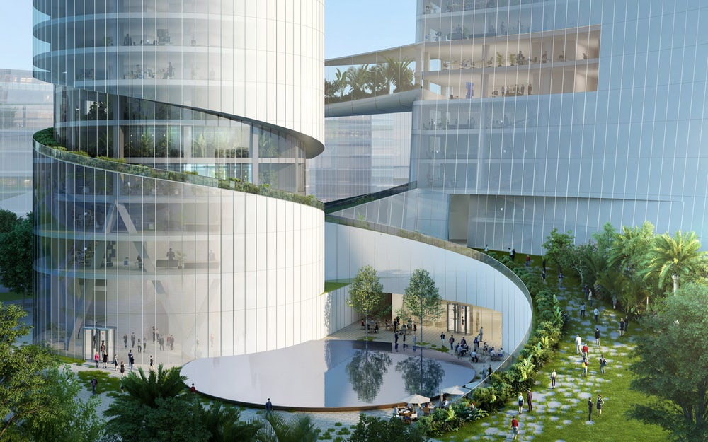 iCarbonX Headquarters Is A Pair Of Skyscrapers Joined Using Bridges!