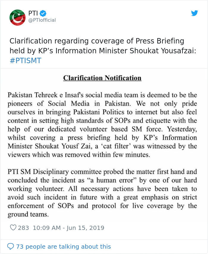 Cat Filter Left On During PTI's Facebook Live Session