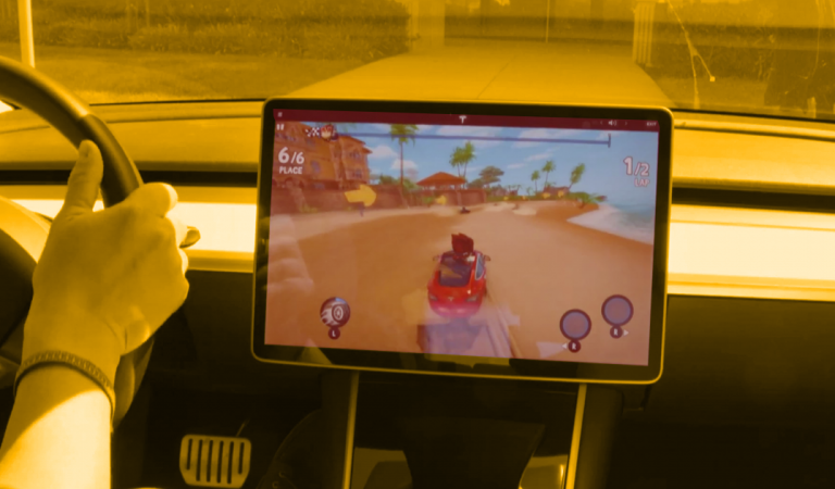 You Can Now Play Racing Games On Your Tesla – Using The Steering Wheel