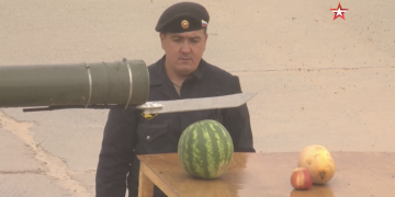 Russian T-80U Main Tank Was Used As A Fruit Slicer