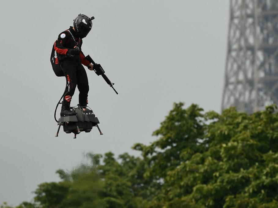 Frank Zapata Demonstrates His Flyboard During Bastille Day Celebrations