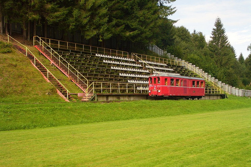 This Stadium In Cierny Balog Has A Railway Track Going Through It