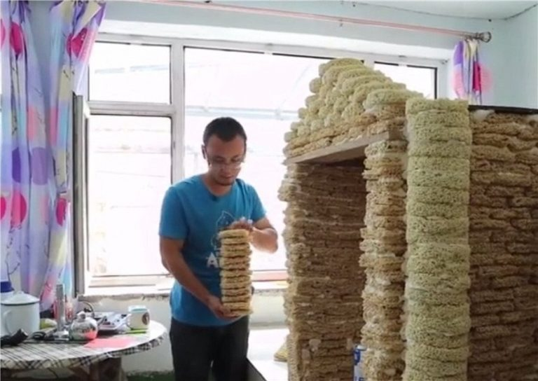 Instant Noodle Cabin Was Built Using 2,000 Packets Of Instant Noodles